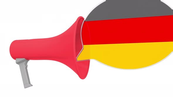 Loudspeaker and Flag of Gemany on the Speech Bubble