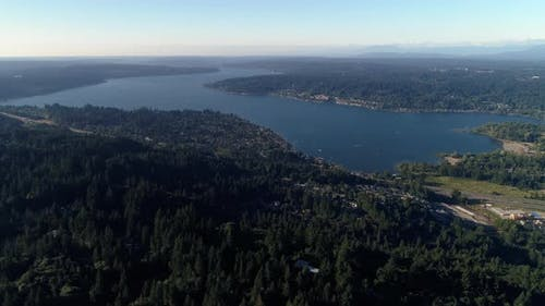 Helicopter View Of Lake Sammamish By Interstate