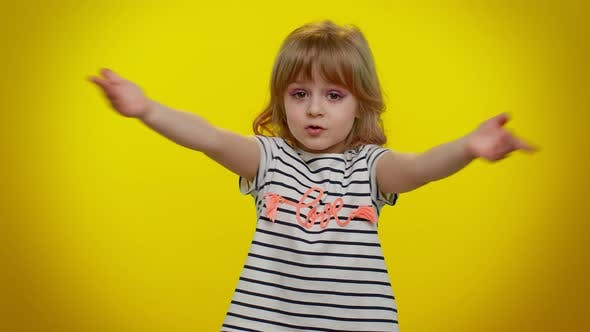 Child Girl Opening Hands in Excitement Preparing Surprise Sharing Love Emotions Congratulating