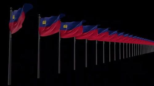 Row Of Liechtenstein Flags With Alpha 2K