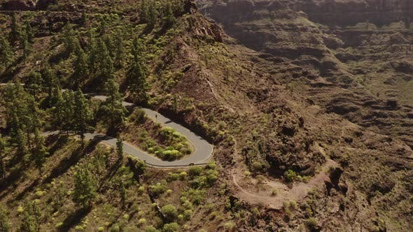 Thumbnail for Aerial Shot of Road Side in the Gran Canaria Valley