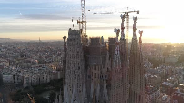 Thumbnail for Cathedral of Sagrada Familia in Barcelona at Sunrise