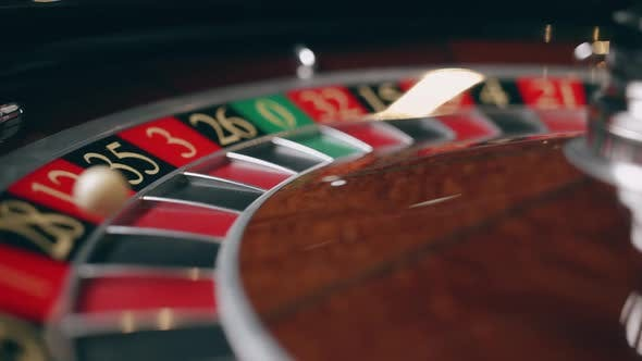 Close Up of Roulette Wheel at the Casino in Motion