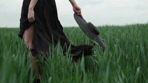 Flamboyant fille en robe noire passe par le champ.