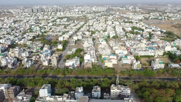 Thumbnail for Aerial UHD Drone Footage of a City Blocks in Urban City of India. Indore Which Is Also India's