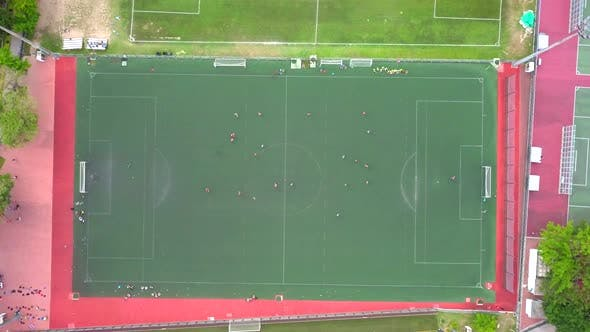 Thumbnail for Top view of football court and basketball court