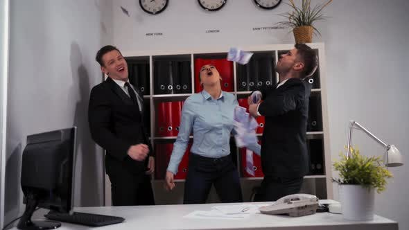 Thumbnail for Business Concept - Happy Business Team Celebrating Victory and Dance in Office
