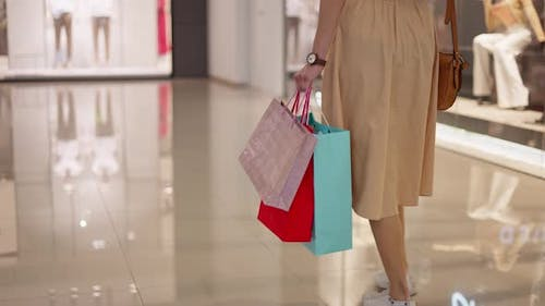 Beautiful Woman Carrying Shopping Bags in Commercial Center