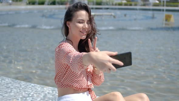 Thumbnail for Pretty and Sexy Girl Takin a Selfie Photo with Her Mobile Phone
