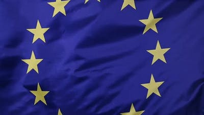 European Union flag waving in the wind