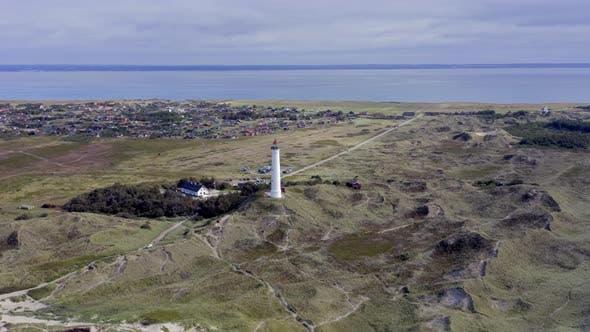 A Lighthouse on the Dunes of Northern Denmark at Lyngvig Fyr