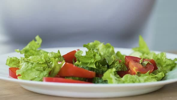 Thumbnail for Lady eating delicious and healthy vegetable salad, proper nutrition, weight loss