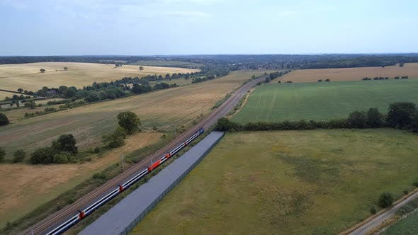 Fast Commuter Train Meandering Through the Countryside