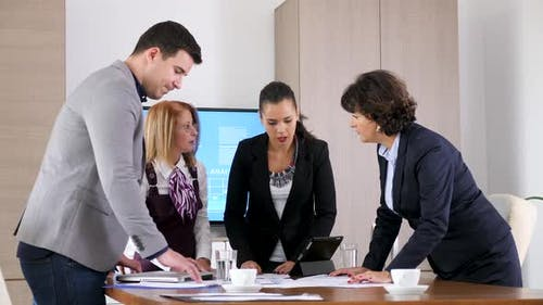 Business Team of Four People Brainstorming