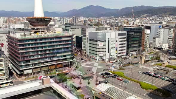 Kyoto Large Square By Railway Station Timelapse