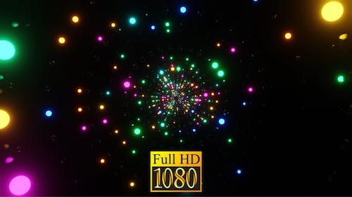 Ring Tunnel Of Shimmering Neon Balls With Rotation HD