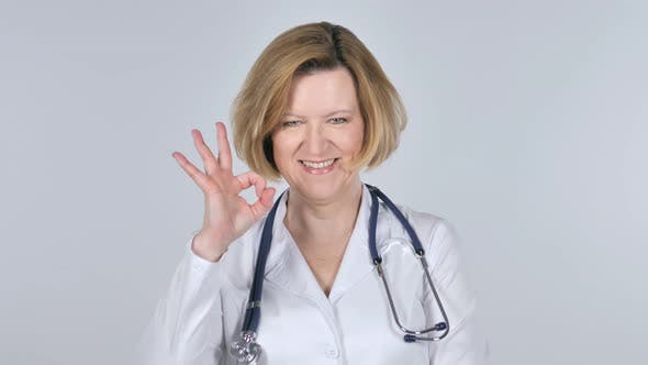 Thumbnail for Portrait of Old Doctor Gesturing  Okay Sign