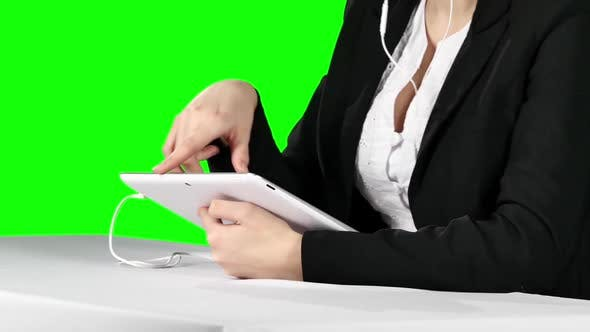 Thumbnail for Businesswoman Using Laptop and Headset. Green Screen