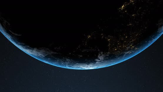 Animation of Earth in space 4k