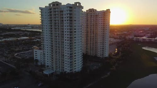 Duo Towers Hallandale Beach FL residential condo at sunset