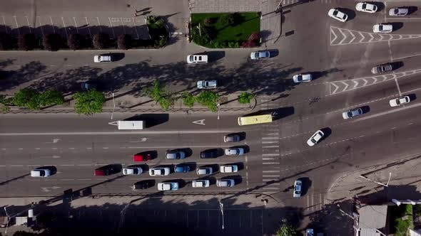 Thumbnail for Drone's Eye View - Aerial View of Downtown Traffic on the Freeway on a Sunny Day