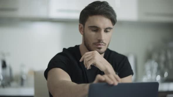 Thumbnail for Serious Man Work Laptop. Guy Looking Computer Monitor. Man Using Notebook