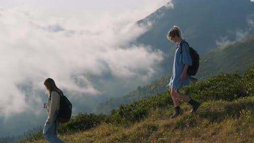 Young Hikers in the Mountains