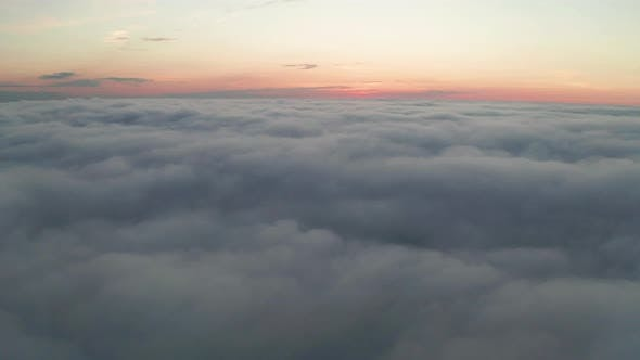Thumbnail for Beautiful Misty Dawn. Flying Above the Clouds, Drone Video