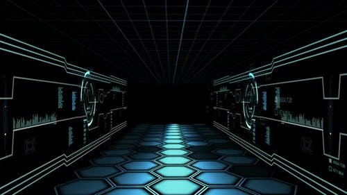 Corridor With Hud Servers In Data Center