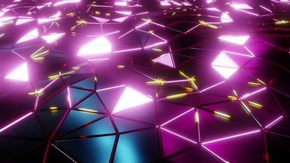 Neon Light Triangle In Geometry Wave 01 4K