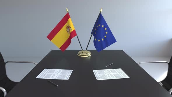 Thumbnail for Flags of Spain and the European Union on the Table