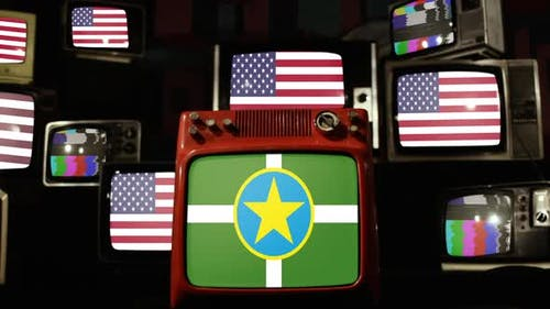 Flag of Jackson, Mississippi, and US Flags on Retro TVs.