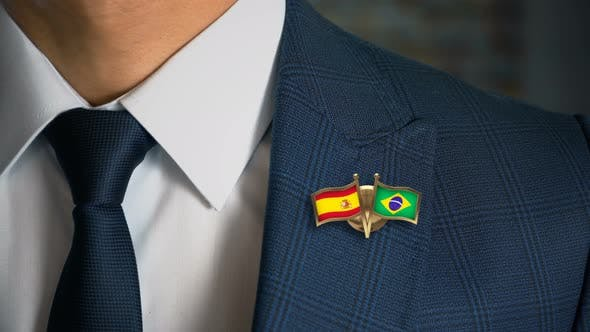 Thumbnail for Businessman Friend Flags Pin Spain Brazil