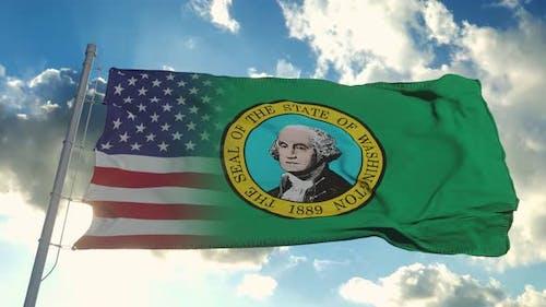Flag of USA and Washington State
