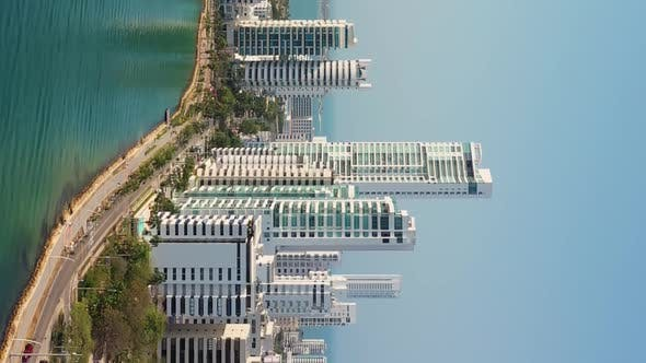 Thumbnail for Vertical Footage Skyscraper Glass and White Facades at Sunny Day