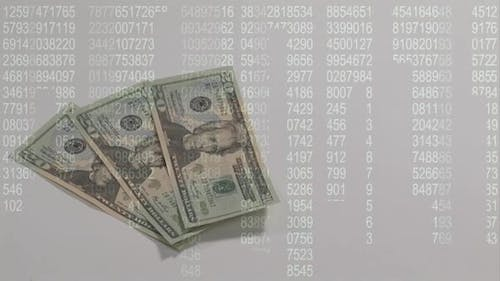 Money piling up with number codes