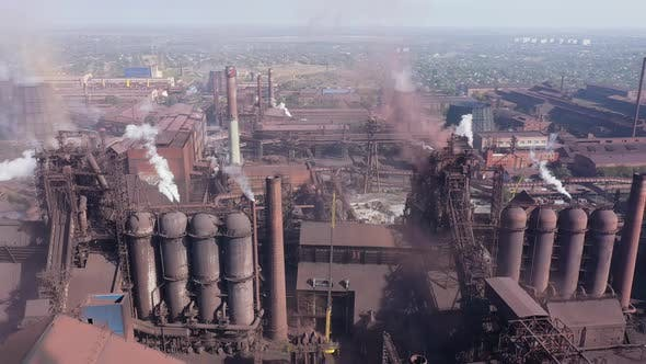 Blast furnaces of a metallurgical plant. Aerial view