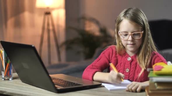 Cover Image for Lovely Little Girl E-learning with Laptop at Home