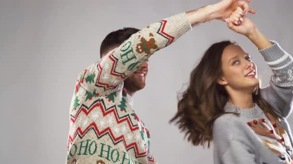 Thumbnail for Happy Couple Dancing at Christmas Party