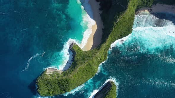 Kelingking beach, Nusa Penida, Bali, Indonesia. Aerial view at sea and rocks.