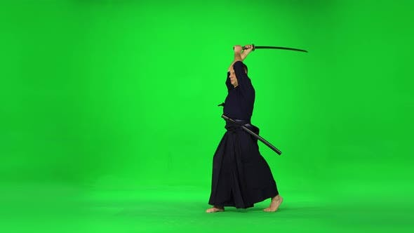 Thumbnail for Masculine Kendo Warrior Practicing Martial Art with the Bamboo Bokken on Green Screen