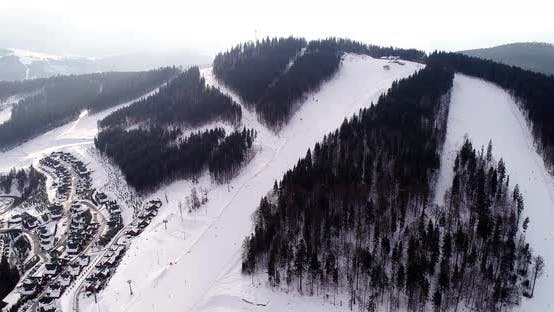 Thumbnail for Aerial View of the Ski Resort in Mountains at Winter