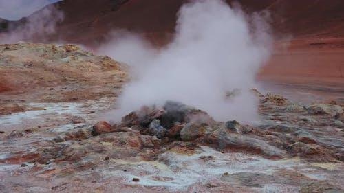Steaming Geothermal Vent In Icelandic Terrain