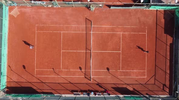 Playing Tennis Outdoors Aerial Drone