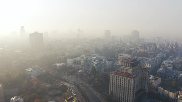 Thumbnail for Institutska Street and Kreshchatyk Metro Station at Foggy Weather. Problem of Pollution