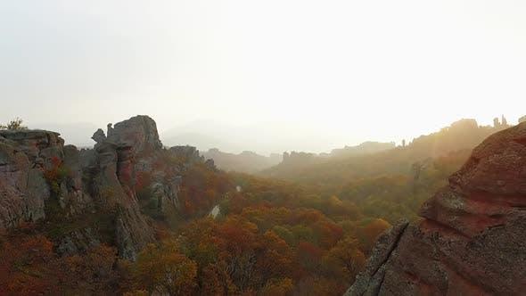 Dramatic misty Belogradchik during the sunrise in Bulgaria. Europe