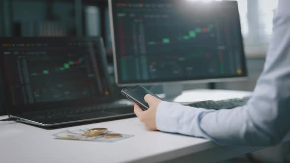 Trader Analysing Stock Market at Office