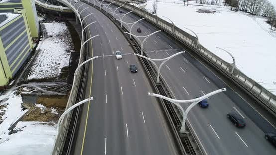 flying over highway with moving cars
