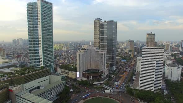 Thumbnail for Aerial view of a roundabout on an Asian city, Jakarta, Indonesia.