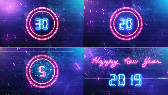 Thumbnail for New Year Countdown 2019   Neon V1